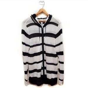 🎉Chico's Black & White Mesh Knit Hooded Jacket🎉